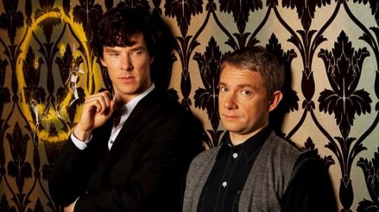 Benedict Cumberbatch as Sherlock and Martin Freeman as Watson