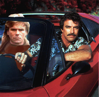 MacGyver and Magnum in the Ferrari