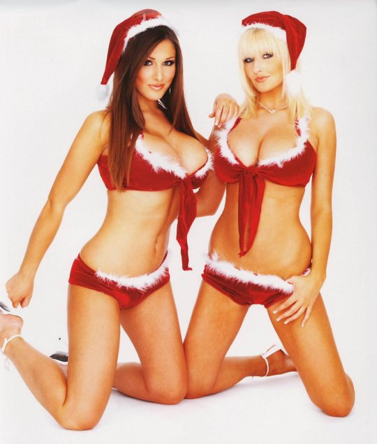 Lucy Pinder and Michelle Marsh on Christmas