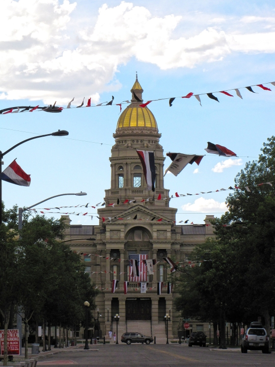 Cheyenne's capitol building, festooned for the festivities, whatever they were.